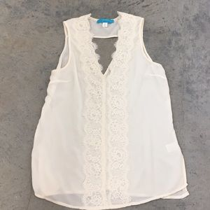 Ivory/ cream colored lace tank size L